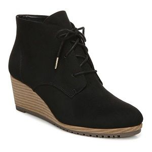 Dr. Scholl's Ceelia Black Wedge Stacked Boots Lace